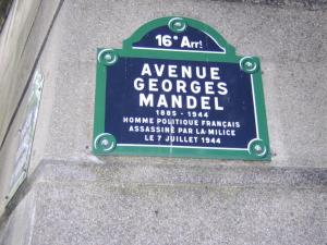 Photo street in Paris named after Georges Mandel who was killed by the Milice, 1944