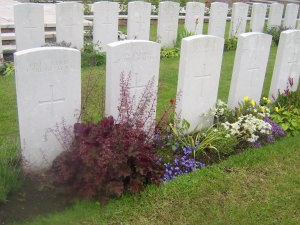 Graves marked as mass burials.
