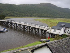 The toll bridge at Penmaenpool.