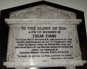 A plaque to Evans at Rhossilli church, Gower.