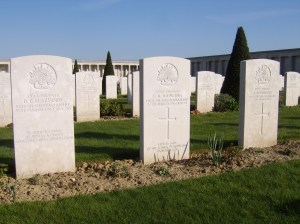 Three Australian graves at Pozieres.