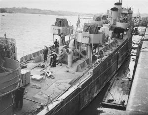 HMS Campbeltown being converted for the raid