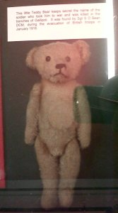 This teddy bear at the Royal Welsh museum in Brecon belonged to a Welsh soldier killed at Gallipoli