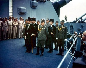 The Japanese delegation arrives to sign the surrender on board the USS Missouri